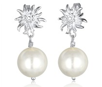 Ohrringe WIESN Tracht Edelweiss Perle Dirndl Silber