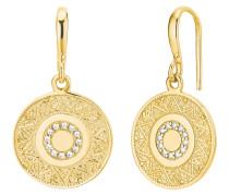 """Ohrhänger für, """"Münze"""", 925 Sterling Silber vergoldet Weiß"""