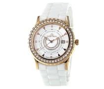 Hochwertige Luxusuhr mit Diamantbesatz und Keramikarmband