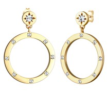 Ohrringe Kreis Geo Kristalle 925 Silber vergoldet