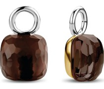 -Ohrringe 925er Silber Kristall Gold/Braun 32014807