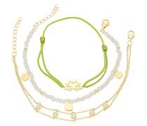 Armband Armbänder 3-teilig, Kristallsteine und Zirkonia, Silber 925