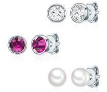 Set mit Kristallen von Swarovski® Sterling Silber verziert Süßwasser-Zuchtperle silber
