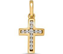 -Anhänger KREUZ 375er Gelbgold Zirkonia One Size 87679128