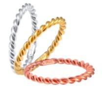 Ring Tricolor Set Gedreht 925er Silber vergoldet Ringe