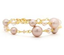 Armband Messing verziert mit Perlen gelbgold