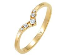 Ring Verlobungsring V-Form Diamant 0.07 ct 585 Gelbgold