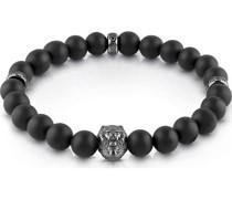 -Herrenarmband BLACK BEADS LION Edelstahl One Size 87859541