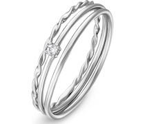 -Ring 925er Silber rhodiniert 1 Zirkonia 56 32011550