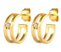 Ohrringe Creolen Stecker Diamant (0.03 ct) 375 Gelbgold