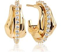 -Ohrstecker 925er Silber Zirkonia Gold/Schwarz 32014584