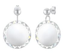 Ohrringe Hänger Plättchen Kristalle 925 Silber
