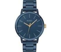 Hugo-Uhren Analog Quarz Blau Blau Gliederarmband 32012718