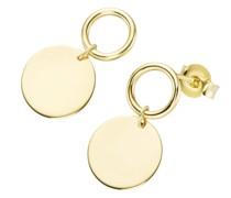 Ohrstecker mit rundem Plättchen und Ring, Gold 375
