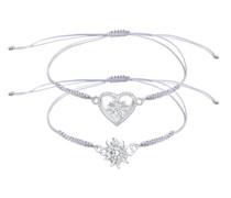 Armband Set Edelweiss Herz Wiesn Trachten Nylon 925 Silber