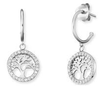 -Creolen Creole Lebensbaum 925er Silber Zirkonia One Size 87928322