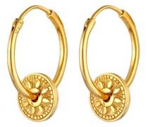 Ohrringe Creolen Einhänger Coin Sonne Antik 925er Silber