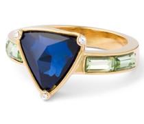 Ring Messing Glaskristalle gelbgold Modeschmuckring