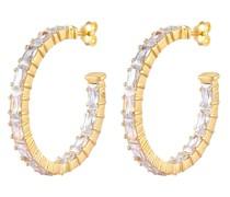 Ohrringe Creolen Rechteck Funkelnd Zirkonia 925 Silber