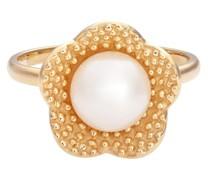 Ring Blume Sterling Silber Süßwasser-Zuchtperle gelbgold