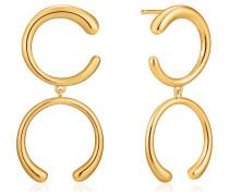 -Ohrhänger Luxe Double Curve 925er Silber Silber Silber 32014111