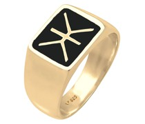 Ring Siegelring Emaille Logo Basic 925 Silber