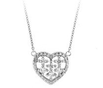Collier Mittelteil Herz mit Zirkonia Steinen, Silber 925