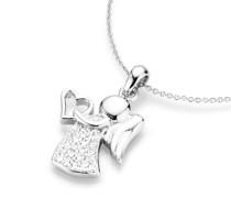 Kette Behang Engel mit Herz, Zirkonia Steine, Silber 925