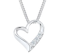 Halskette Herz Ewigkeit Diamant (0.045 ct.) 925 Silber