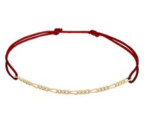 Armband Firgaro-Kette Rot Nylon Verstellbar 925 Silber