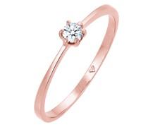 Ring Solitär Verlobung Diamant (0.11 ct.) 750 Roségold