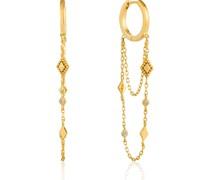 -Creolen Bohemia Chain Drop Mini Hoops 925er Silber Zirkonia Gold 32014165