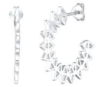 Ohrringe Ohrhänger Kreis Geo Spike Hoops Trend 925 Silber