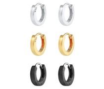 Ohrringe Creolen Set Oxidiert Vergoldet 925 Silber