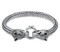 Armband Wolfskopf Braided Ringverschluss 925 Silber