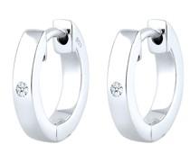 Ohrringe Creole Diamant (0.03 ct) Geschenkidee Silber