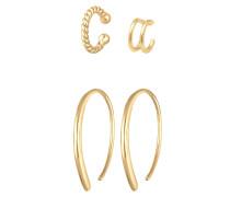 Ohrringe Basic Set Creolen Earcuff Blogger Trend 925 Silber