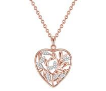 Halskette Herz/Funkelnde Blätter Sterling Silber Zirkonia roségold