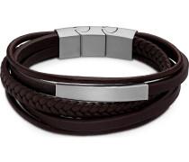 -Armband Leder, Edelstahl Schwarz 32013544
