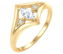 Ring Bandring Zirkonia Marquise Vintage 925 Silber