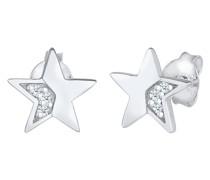 Ohrringe Stern Star Diamanten (0.03 ct) Stecker 925 Silber