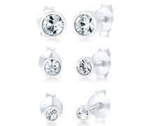 Ohrringe Stecker Set Kristalle Basic 925 Silber