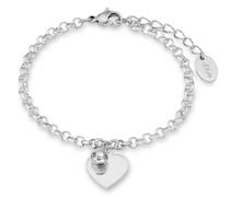 Armband mit Anhänger für, Edelstahl, Kristallglas Herz