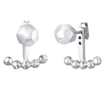 Ohrringe Ear Jacket Kugeln Struktur Organic-Look 925 Silber
