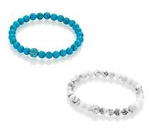 Armband Armbänder Howlith und imit. Türkiskugeln, Kristallsteine