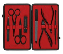 Leather-Bound Manicure Set - Black/Red