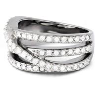 Ring Messing verziert mit Kristallen von Swarovski®