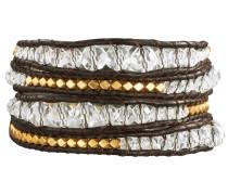 Armband Echtleder dunkelbraun Metallbeadsgoldfarben Glaskristall klar