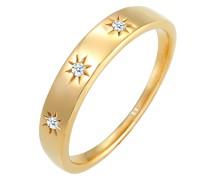 Ring Verlobung Stern Diamant (0.045ct.) 585 Gelbgold
