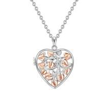 Halskette Herz Sterling Silber silber/roségold